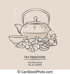 tea with jasmine - Illustration with teapot with tea bowl...