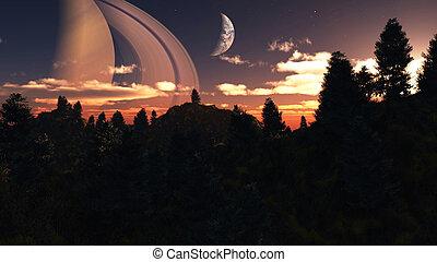 Alien Planet - 3D Rendered Computer Artwork - Distant alien...