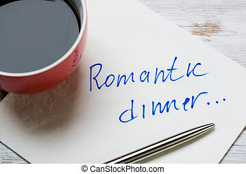 Romantic message written on napkin - Cup of coffee and...