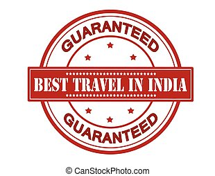 Best travel in India - Rubber stamp with text best travel in...