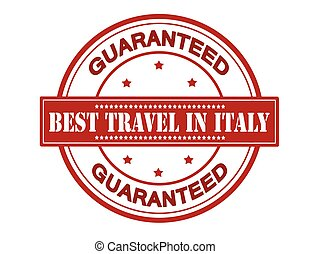 Best travel in Italy - Rubber stamp with text best travel in...