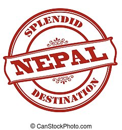 Splendid destination Nepal - Rubber stamp with text splendid...