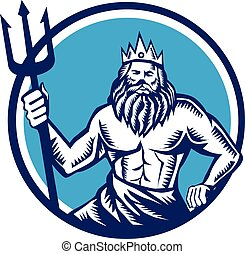 Poseidon Trident Circle Woodcut - Illustration of a poseidon...
