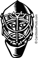Ice Hockey Goalie Helmet Woodcut - Illustration of a ice...