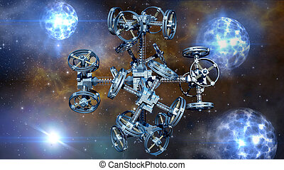Alien spaceship - 3d Illustration of an alien spaceship with...