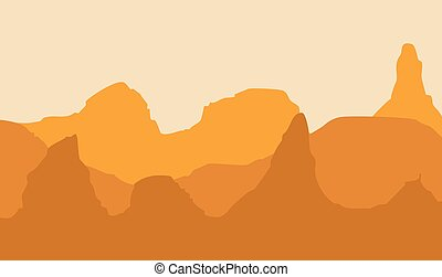 Landscape with hills in shades of orange