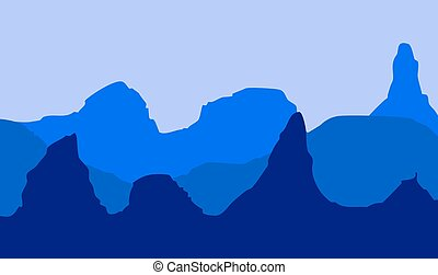 Landscape with mountains in shades of blue