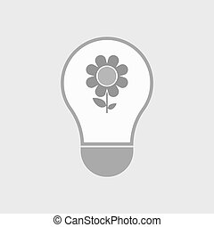 Isolated line art light bulb icon with a flower -...