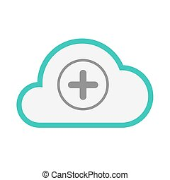 Isolated line art cloud icon with a sum sign - Illustration...