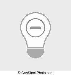 Isolated line art light bulb icon with a subtraction sign -...