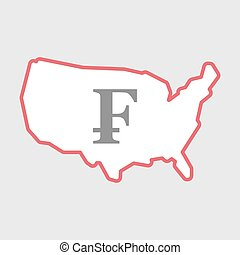 Isolated line art USA map icon with a swiss franc sign -...