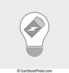 Isolated line art light bulb icon with a battery