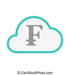 Isolated line art cloud icon with a swiss franc sign -...