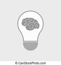 Isolated line art light bulb icon with a brain -...