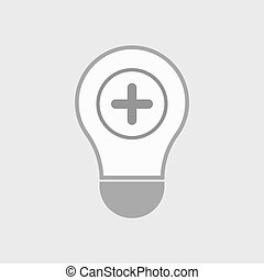 Isolated line art light bulb icon with a sum sign -...