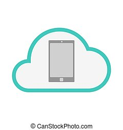 Isolated line art   cloud icon with a smart phone