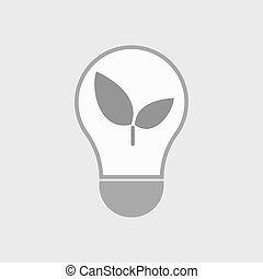 Isolated line art light bulb icon with a plant -...