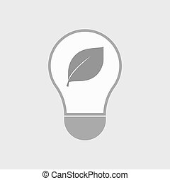 Isolated line art light bulb icon with a leaf - Illustration...