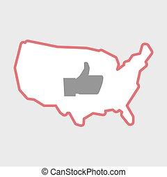 Isolated line art  USA map icon with a thumb up hand