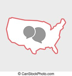 Isolated line art  USA map icon with  comic balloons