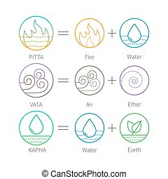 Ayurveda vector illustration with flat thin icons