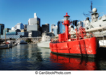 Red Ship in Sydney Harbour, Australia - Red War Ship in...