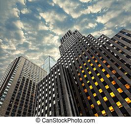 Manhattan modern architecture - Evening in New York City...