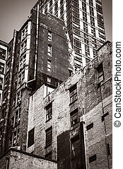 Old house in Manhattan Old photo stylization - The wall of...