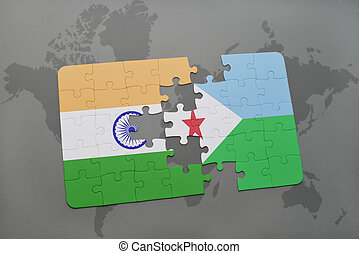 puzzle with the national flag of india and djibouti on a world map background.