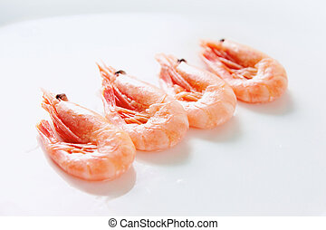 Row of shrimps - Image of tasty shrimps lying in row over...