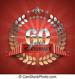 Anniversary 60th ring with red ribbon. - 60th anniversary...