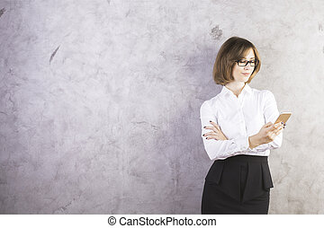 Female using smartphone - Attractive caucasian female in...