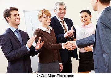Congratulations - Photo of successful business partners...