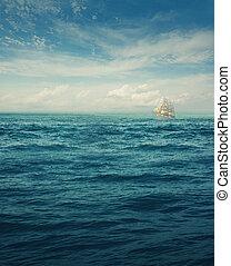 White ship on the horizont