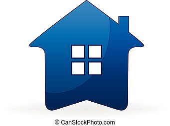 House icon logo - Blue house real estate