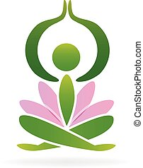 Yoga lotus man logo vector design