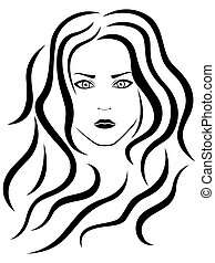 Abstract female portrait outline
