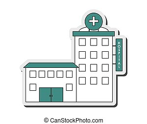 hospital building icon - flat design hospital building icon...