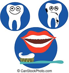 happy and sad tooth and red lips mouth