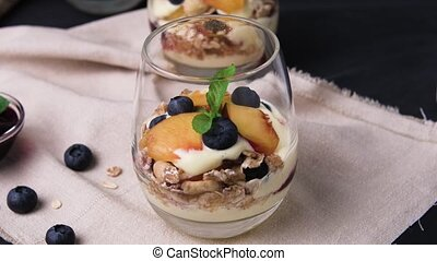 Cream and peach desert - Desert with whipped cream and peach...