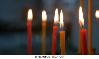 dark candles in the russian church indoors orthodox of...