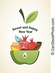 apple slice with Rosh Hashanah symbols vector illustration