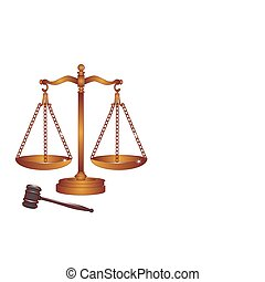 Bronze or copper gavel and scales - The weight of the scales...