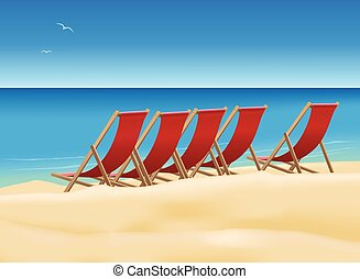 Deck chairs on the beach - Five red deck chairs on the...