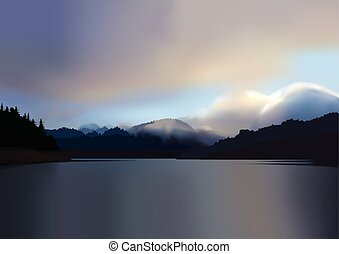 Mountain lake at dawn - A beautiful sunrise over a calm,...