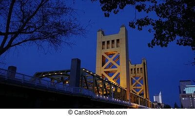 Tower Bridge in Sacramento - Tower Bridge at night,...