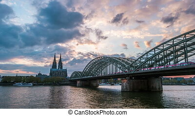 Sunset timelapse of Cologne Cathedral and Hohenzollern...
