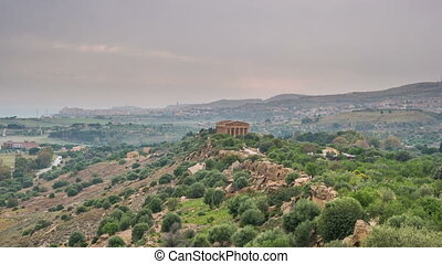 Sunset timelapse of Valley of temples in Agrigento in Sicily...