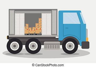 Box truck delivery shipping icon Vector graphic - Box...