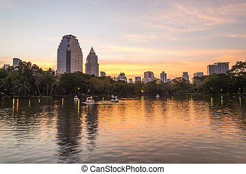City at twilight view of Bangkok from Lumpini Park,...